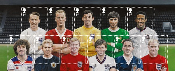 british footballers stamps 600x243 Royal Mail Releases New Stamps to Honor Britains Greatest Footballers [PHOTO]