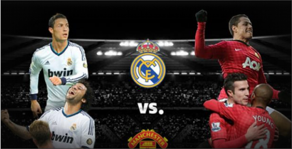 realmadrid manutd 600x306 Win 2 Tickets to Manchester United vs Real Madrid at Old Trafford