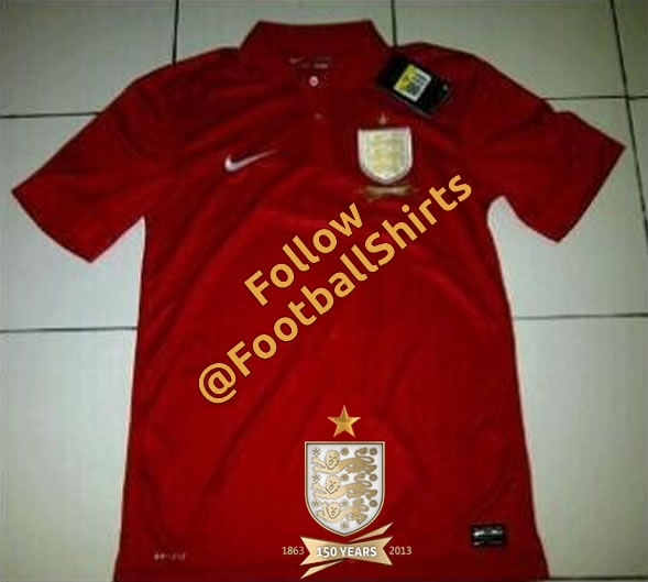 england away shirt red England Away Shirt From Nike For 150 Year Anniversary: Leaked [PHOTO]