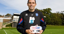 Gus Poyet with nPower League One Manager of the Month award for September 2010