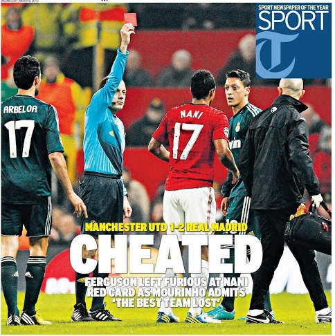 nani backpage headline UEFA Have No Problem With Ref Cuneyt Cakir Following Red Card for Nani: The Daily EPL