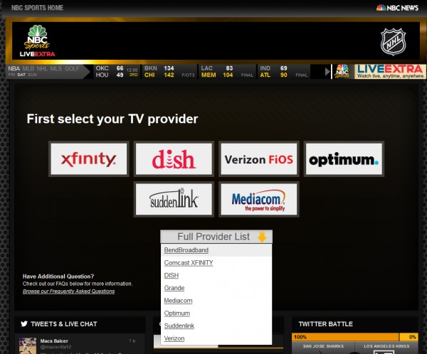 NBC Sports LiveExtra on Dish 600x498 Complete List Of TV Providers Offering Access to NBC Sports Live Extra