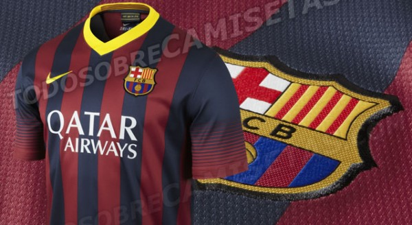 barcelona home shirt feature 600x328 Barcelona Home Shirt for 2013 14 Season: New Up Close Images [PHOTOS]