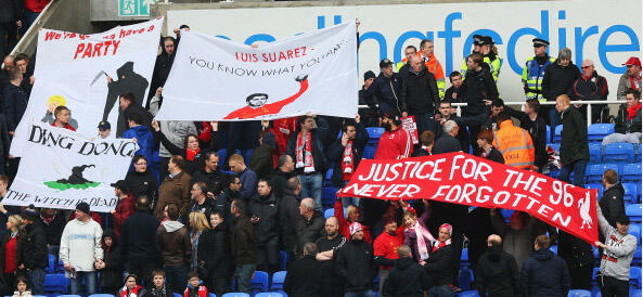 liverpool thatcher banner Liverpool Supporters Unfurl Anti Margaret Thatcher Banners at Premier League Match [PHOTO]