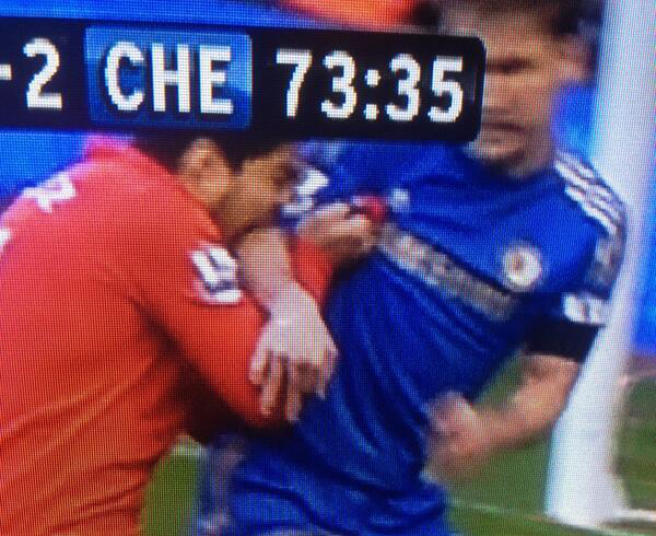 suarez bites ivanovic Luis Suárezs Liverpool Future in Doubt Despite Apology For Bite Attack: The Nightly EPL
