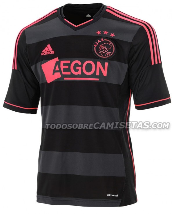 ajax away shirt official 600x740 Ajax Away Shirt For 2013 14 Season: Black And Hot Pink [PHOTO]