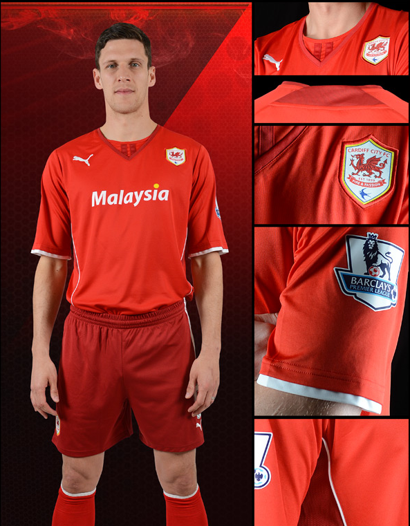 cardiff city home kit Cardiff City Unveil Home Shirt for 2013 14 Season: Come On You Reds [PHOTO]