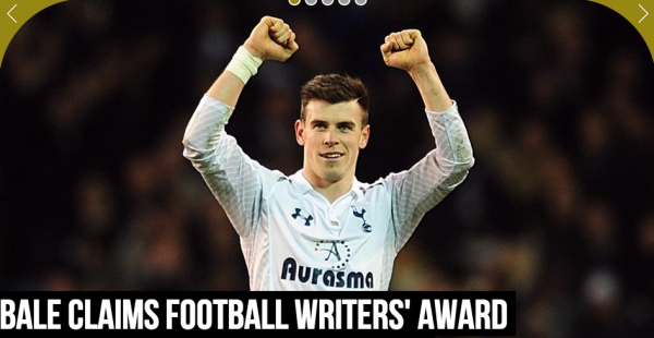 gareth bale pfwa award 600x310 Gareth Bale Named Player of the Year By Football Writers Association: The Daily EPL