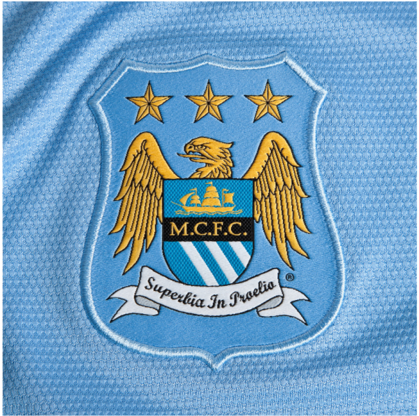 man city home shirt crest1 600x595 Manchester City Officially Unveil Their Home Kit for the 2013 14 Season [PHOTOS]