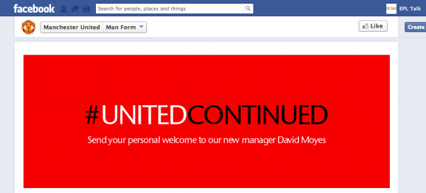 man utd facebook moyes 600x273 Manchester United Facebook Page Lets Slip That David Moyes Is The New Manager [PHOTO]