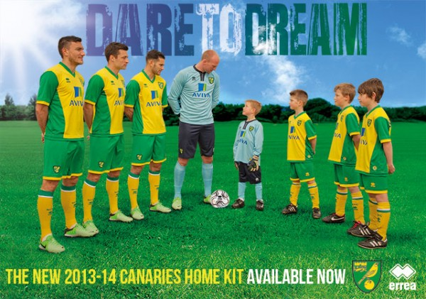 norwich city home kit 600x421 Norwich City Unveil New Home Kit For 2013 14 Season: [PHOTO] & [VIDEO]
