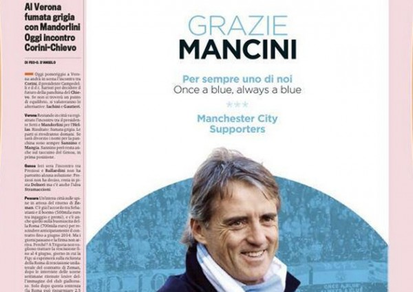 roberto mancini ad italian newspaper 600x425 Manchester City Fans Buy Ad in Italian Newspaper to Thank Mancini [PHOTO]: The Daily EPL