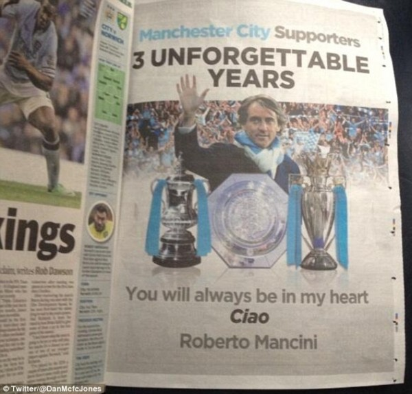 roberto mancini1 600x574 Roberto Mancini Buys Full Page Advert to Thank Manchester City Fans: The Daily EPL