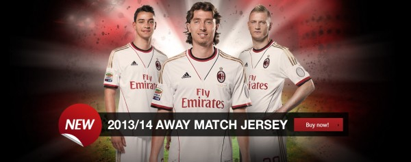 ac milan away 600x237 AC Milan Home and Away Shirts for 2013 14 Season [PHOTOS]