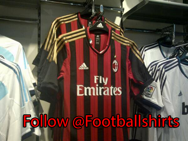 ac milan home shirt front AC Milan Home and Away Shirts for 2013 14 Season [PHOTOS]