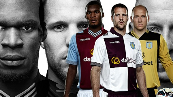 aston villa home away shirts 600x337 Aston Villa Home and Away Shirts for 2013 14 Season Revealed [PHOTOS]