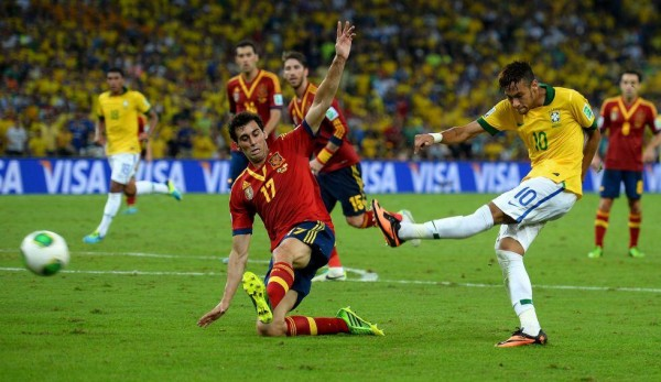 brazil neymar spain 600x347 Brazil Wins Confederations Cup Against Spain While Police Attack Protestors: Nightly Soccer Report