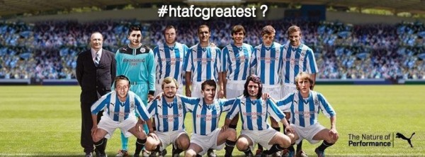 huddersfield town team photo greatest 600x222 Huddersfield Town Launch New Home Shirt With Blast From The Past [PHOTOS]