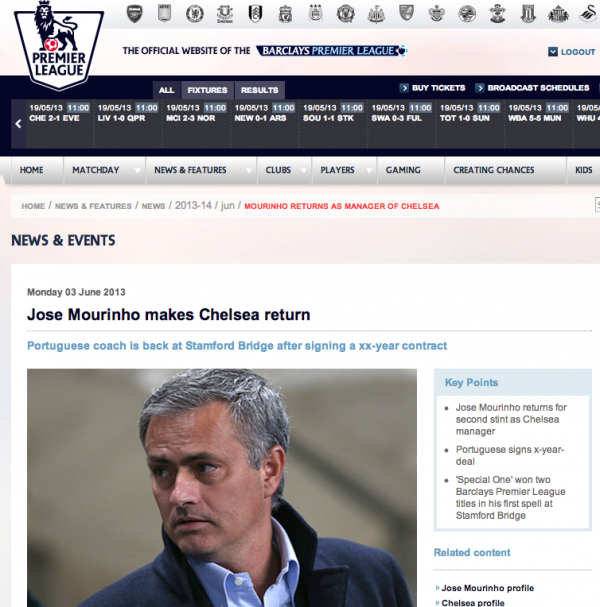 jose mourinho chelsea manager 600x607 Jose Mourinho to be Named Chelsea Manager on Monday, Says Premier League: The Nightly EPL