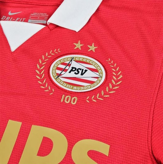 psv home shirt front closeup Ruud Van Nistelrooy Stars in Video to Promote PSVs 100 Year Anniversary Kit [VIDEO]