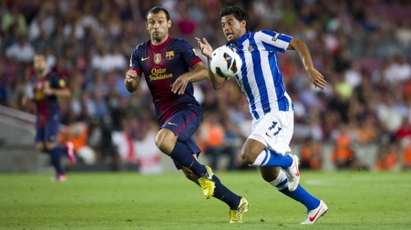 real sociedad barcelona 600x337 Real Sociedad Seal Champions League Spot as Barcelona Reach 100 Points