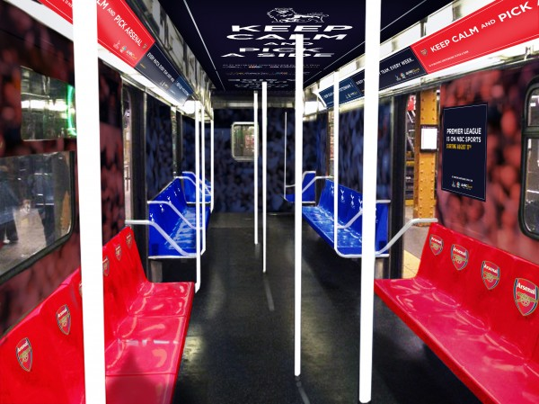 arsenal spurs subway wrap 600x449 NBC Advertises Premier League Rivalries On New York City Subway [PHOTOS]