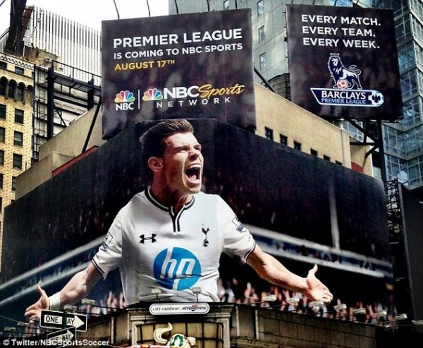 bale new pic nbc 600x493 Giant Billboard of Gareth Bale Takes Over New York Times Square [PHOTO]