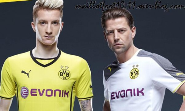 borussia dortmund home away shirts 600x361 Borussia Dortmund Unveil Giant Sized New Kit at Westfalen Park [PHOTOS]