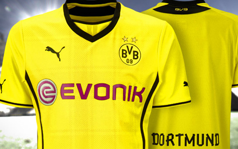 borussia dortmund home shirt Borussia Dortmund Unveil Giant Sized New Kit at Westfalen Park [PHOTOS]