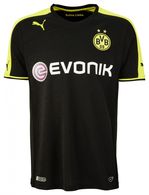 dortmund away shirt front shirt 600x785 Borussia Dortmund Unveil Giant Sized New Kit at Westfalen Park [PHOTOS]