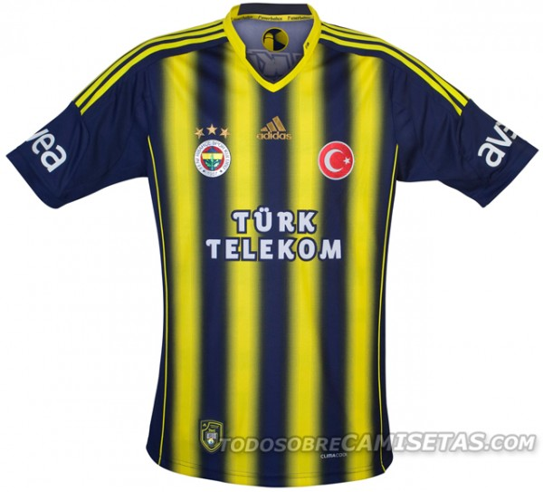 fenerbahce home shirt 600x543 Fenerbahce Home, Away and Third Shirts for 2013 14 Season [PHOTOS]