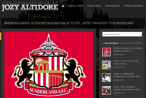 jozy altidore sunderland announcement 600x403 Jozy Altidores Official Website Announces His Transfer to Sunderland Before Page Is Removed