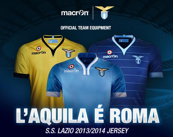 lazio home away third shirts group Lazio Home, Away and Third Shirts for 2013 14 Season: Official [PHOTOS]