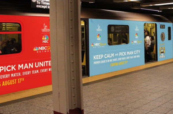 man united man city subway wrap 600x395 NBC Advertises Premier League Rivalries On New York City Subway [PHOTOS]