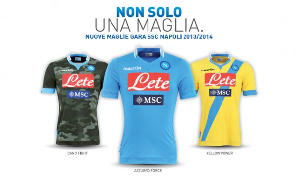 napoli home away third shirts 600x357 Napoli Home, Away And Third Shirts for the 2013 14 Season [PHOTOS]