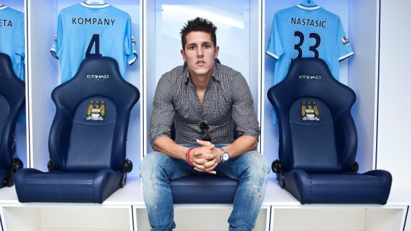 stevan jovetic manchester city 600x337 Future Of Stevan Jovetic At Manchester City Is Unclear After Pellegrini Adds to Mystery