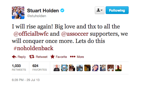 stuart holden tweet Stuart Holden Diagnosed With Torn ACL In Knee To Add to His Injury Woes
