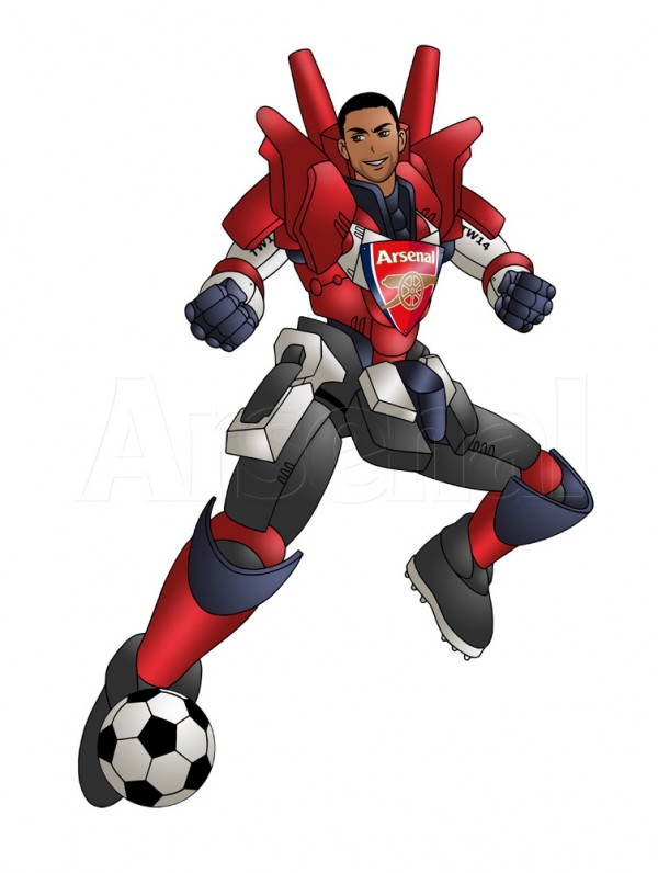 theo walcott manga 600x796 Theo Walcott Depicted Manga Style, Wearing Arsenal Battle Suit [PHOTO]
