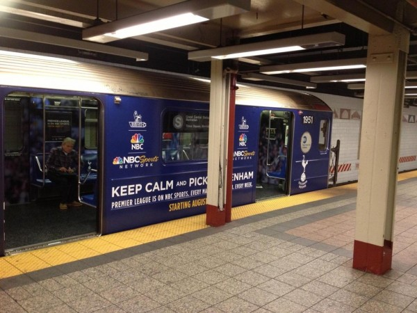 tottenham subway car hor 600x450 NBC Advertises Premier League Rivalries On New York City Subway [PHOTOS]