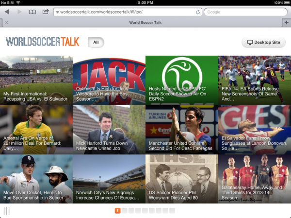 worldsoccertalk ipad experience 600x450 World Soccer Talk Launches New Browser Experience for iPad, iPhone, Nexus 7 & Kindle Fire Devices
