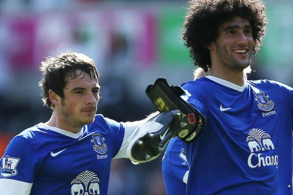 Banies and Fellaini 1879627 600x399 Everton Dismiss Manchester Uniteds £36m Bid For Leighton Baines and Marouane Fellaini