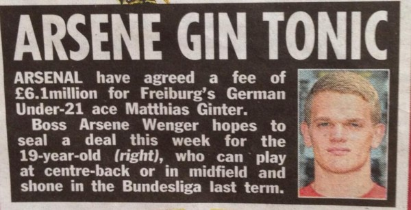 Matthias Ginter clip 600x307 Arsenal Agree £6.1million Fee With Freiburg For Matthias Ginter, Says Report