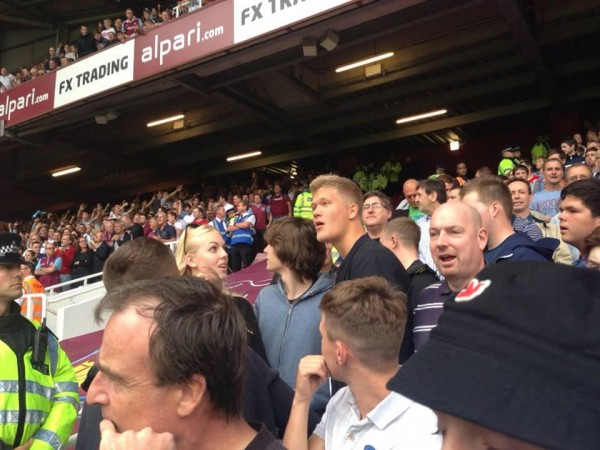 andres cornelius west ham 600x450 Cardiff Striker Andreas Cornelius Watches West Ham Match Among Traveling Fans [PHOTOS]