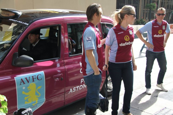aston villa taxi cab 600x400 New Photos of London Taxi Cabs in Premier League Team Colors In New York City [PHOTOS]