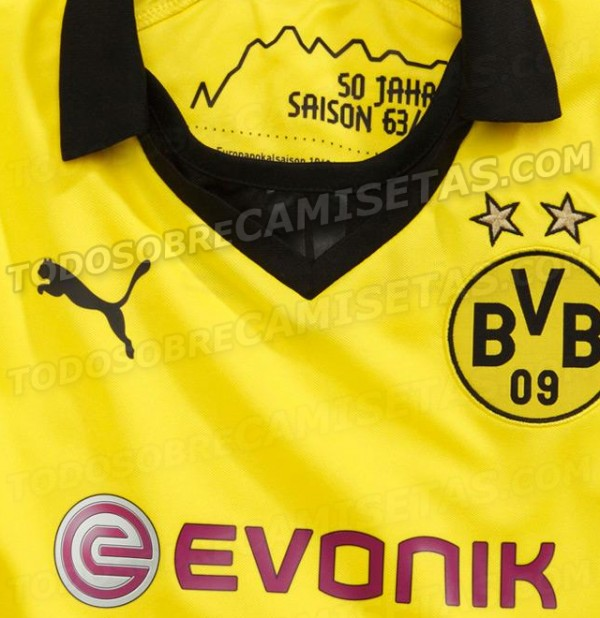 borussia dortmund home shirt closeup 600x618 Borussia Dortmund Champions League Shirt for 2013 14 Season: Leaked [PHOTOS]