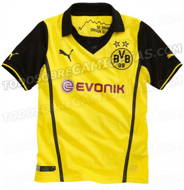 borussia dortmund home shirt front 600x618 Borussia Dortmund Champions League Shirt for 2013 14 Season: Leaked [PHOTOS]
