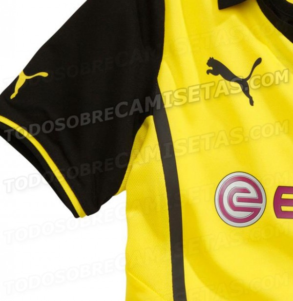 borussia dortmund home shirt sleeve 600x618 Borussia Dortmund Champions League Shirt for 2013 14 Season: Leaked [PHOTOS]