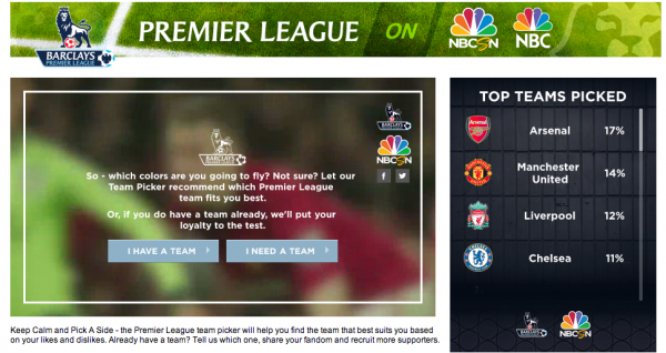 epl team picker nbc 600x318 NBC Sports Launches App to Help Sports Fans Pick a Premier League Club