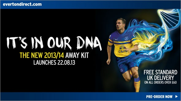 everton away shirt promo Everton Launch Away Shirt for the 2013 14 Season: Official [PHOTOS]