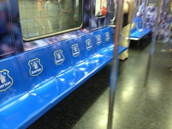 everton seats 600x450 Liverpool and Everton Subway Cars Spotted In New York City As Part of NBC Ad Campaign [PHOTO]